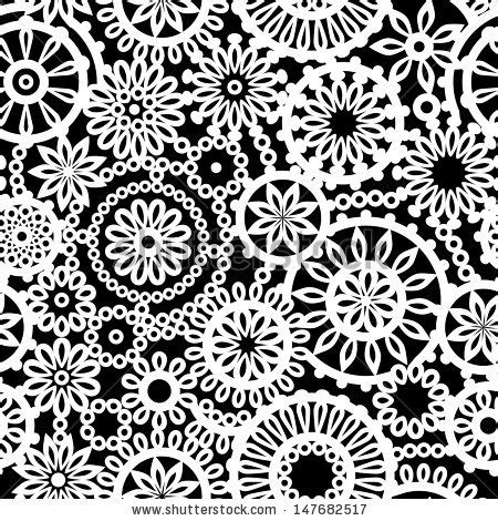 Crochet Pattern Vector | black and white geometric crochet circle flowers seamless