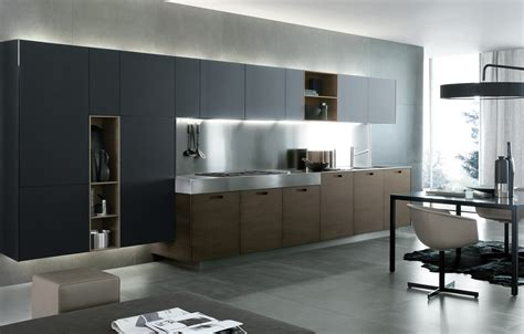 cocinas en l lacquered linear wooden kitchen kyton by varenna by poliform