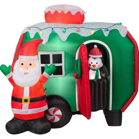 gemmy 6 inflatable santa in rv 87076 6 animated airblown santa and pop out penguin rv