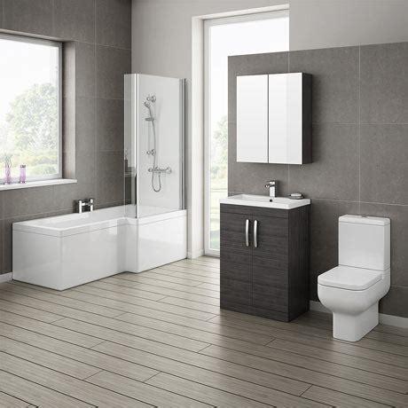 Brooklyn Hacienda Black Bathroom Suite With L Shaped Bath Black Bathroom Furniture Uk