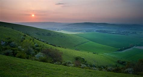 Country Home Decor Pictures by Sunset Over English Countryside Escarpment Landscape