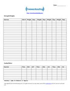 free exercise log template blank workout log template eoua