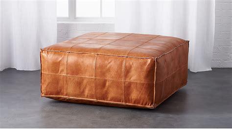 leather ottoman pouf cb2
