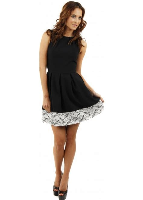 White Closet Dresses by Closet Fit Flare Dress Closet Black Lace Hem Dress