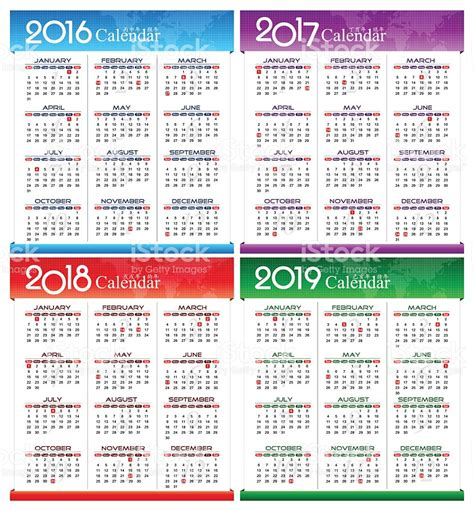 Calendar 2017 And 2018 Vector Vector Year Of 2016 2017 2018 2019 Calendar Stock Vector