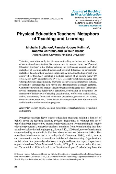 (PDF) Journal of Teaching in Physical Education Physical