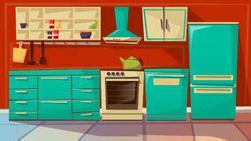 騁amine cuisine int 233 rieur de cuisine avec des meubles illustration de