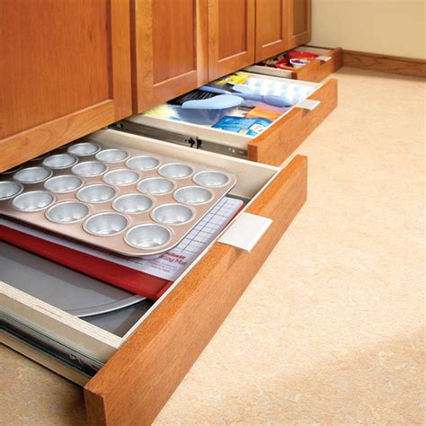 Under Cabinet Kitchen Storage | how to build under cabinet drawers increase kitchen