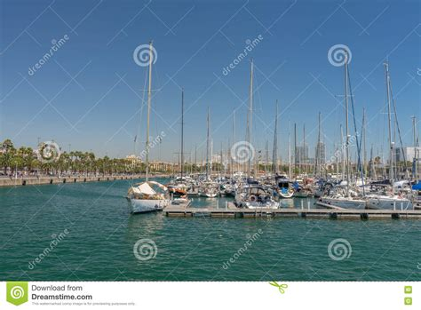 porto della spagna porto di barcellona spagna fotografia editoriale