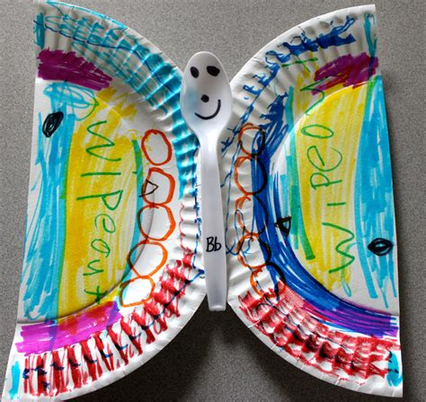 Paper Plate Butterfly Craft - the activity paper plate alphabet craft b is for
