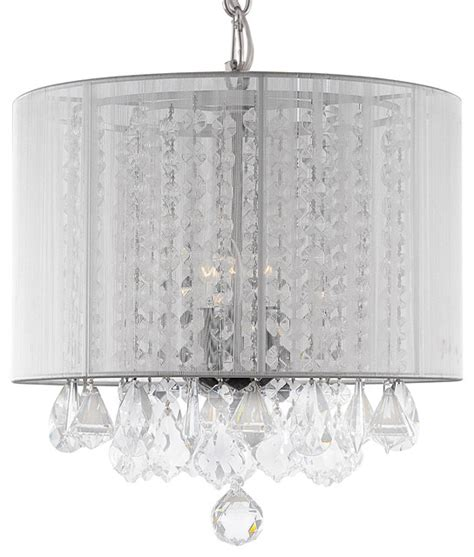 Katherine Crystal Chandelier With White Drum Shade White Drum Shade Chandelier