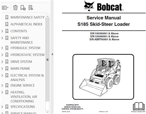 bobcat s185 turbo skid steer loader service manual pdf