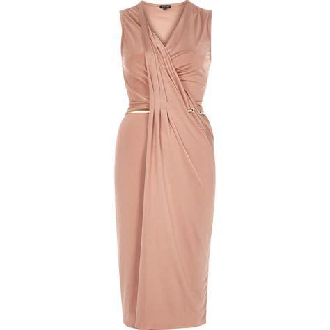 light pink bodycon dress lyst river island light pink slinky drape bodycon dress