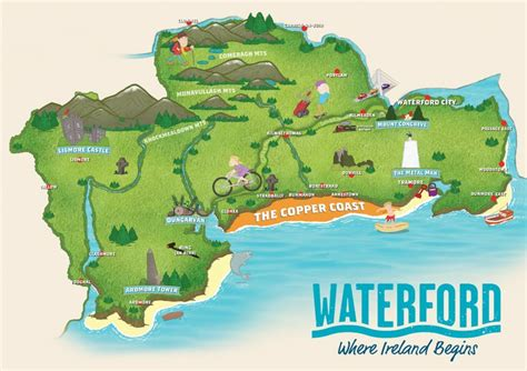 map of waterford city illustrated maps for your city town trail walkway or