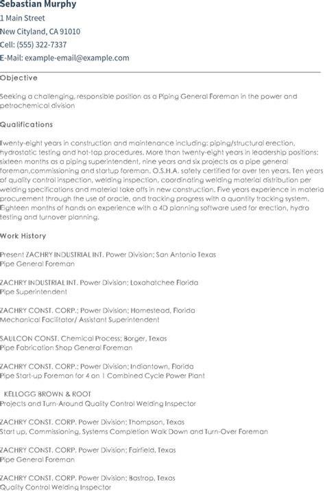 pipefitter resume exles pipefitter resume templates free premium
