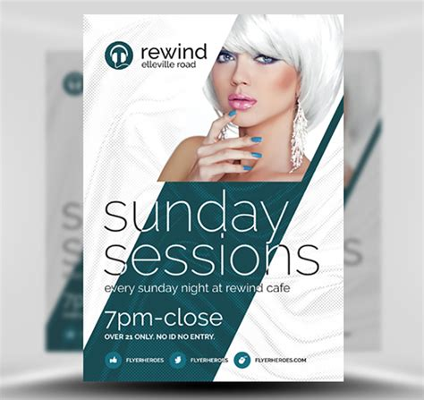 poster template photoshop free sunday sessions free flyer template flyerheroes