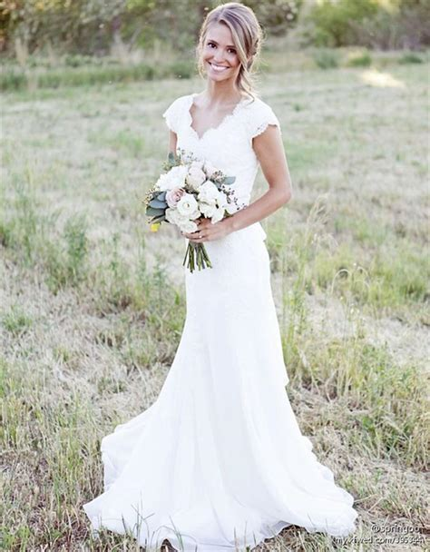 brautkleider landhausstil rustic lace weddingdresses cap sleeves sheath weding