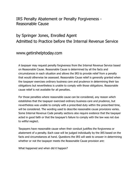Penalty Charge Notice Appeal Letter Exle sle letter for waiver request response to irs penalty