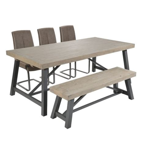 Industrial Dining Table And Chairs Industrial Dining Reclaimed Table Bench Chairs Curiosity Interiors