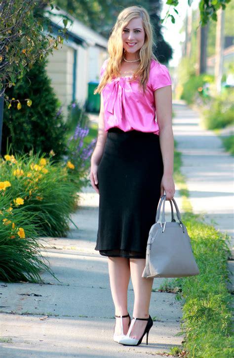 pink bow blouse midi skirt s lookbook