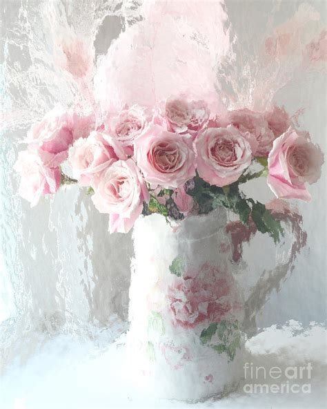 vintage roses french art print shabby cottage home decor a4 paris pink impressionistic french roses in pink white vase