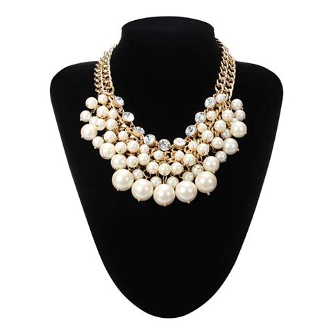 pearl collar multilayer pearl bead collar necklace gold plated chain us 11 50 sold out