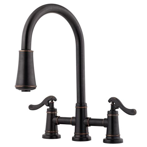 Pfister Ashfield 2 Handle Pull Down Sprayer Kitchen Faucet in Tuscan Bronze LG531 YPY   The Home