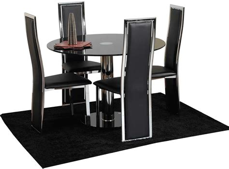 compact dining table set for 4 atlas black glass