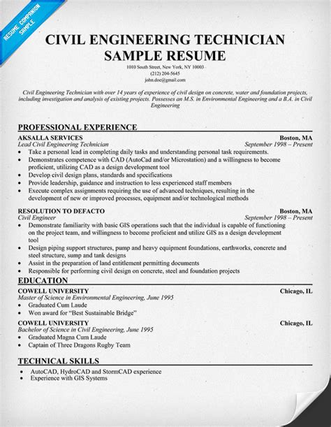 Civil Engineering Resume Templates by Civil Engineering Technician Resume Resumecompanion