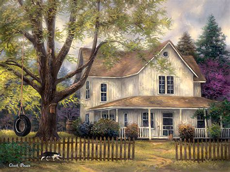 painting of house americana painting house cottage artwork country