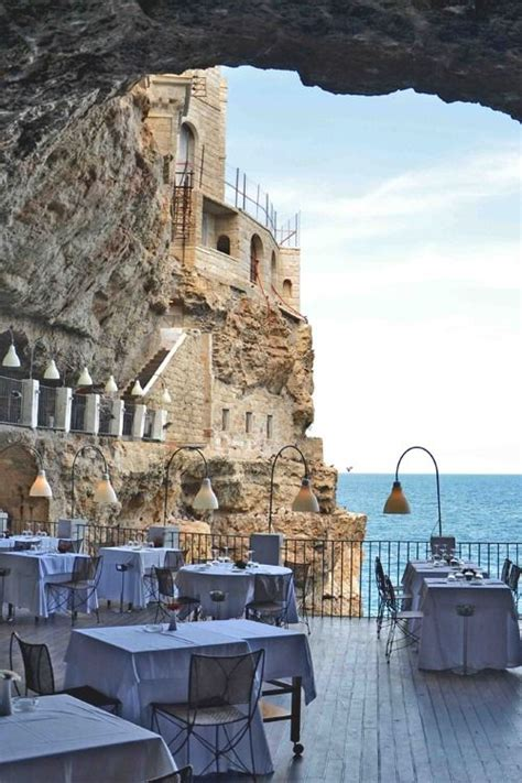 cave resturuant side of a cliff italy grotta pallazzese this restaurant is part of a cave in a
