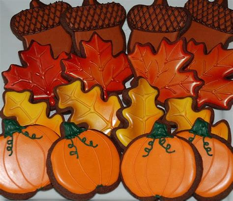 fall decorated cookies autumn fall leaves thanksgiving cookies one dozen