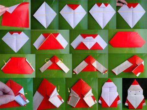 how to make paper crafts step by step how to fold origami paper craft santa step by step diy