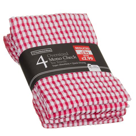 Next Kitchen Furniture mono check oversized tea towels 4pk kitchen towels