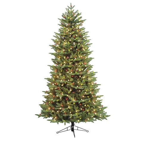 ge 75 ft pre lit alaskan fir flocked artificial christmas tree with 600 color changing warm white led lights general electric 7 5 pre lit just cut alaskan fir tree with 650 clear constanton lights
