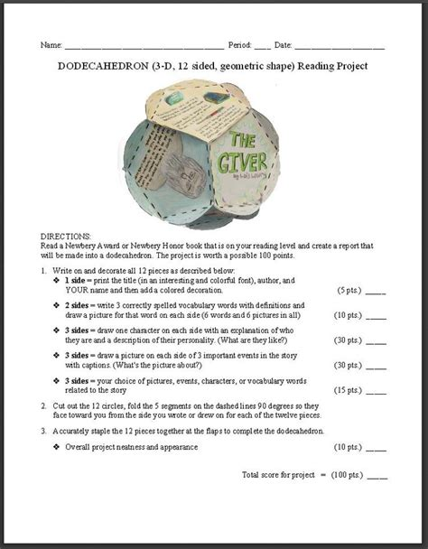 free dodecahedron book report idea template photo of an