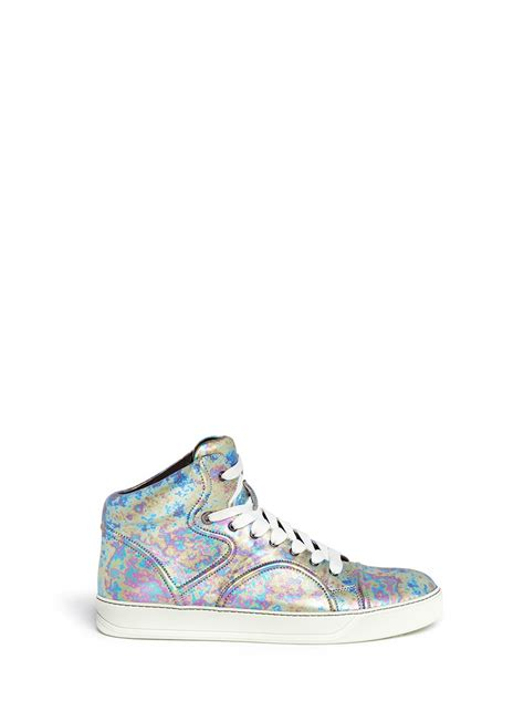 lanvin mid top sneakers lanvin metallic leather mid top sneakers for lyst