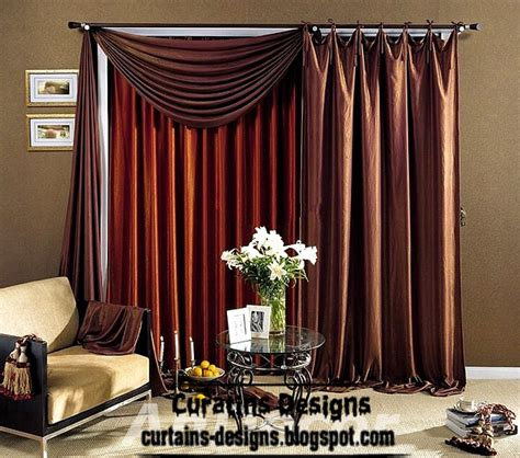 brown curtains with design curtain designs