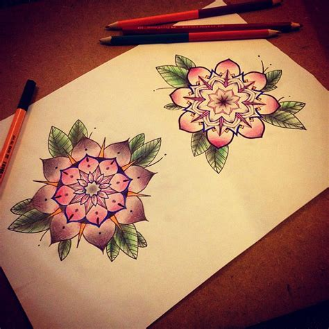 lovely color flower mandala by ifigeneia sake tattoo crew