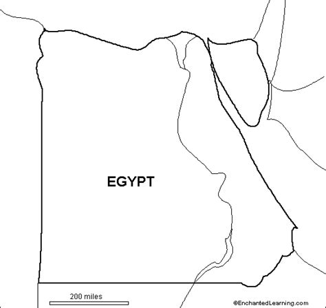outline map egypt enchantedlearning com