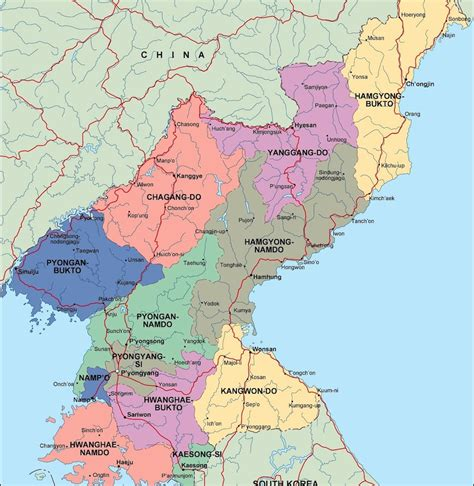 map of korea and surrounding countries korea political map eps illustrator map our
