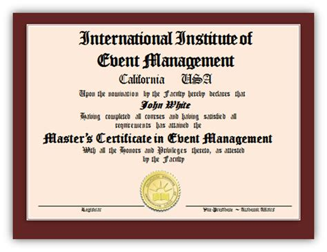 masters degree certificate template successful completion of the course work and upon