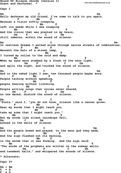 printable lyrics and chords song lyrics with guitar chords for sound of silence
