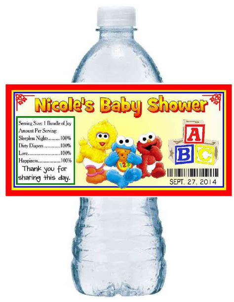 Sesame Baby Shower by 20 Baby Sesame Baby Shower Favors Water Bottle