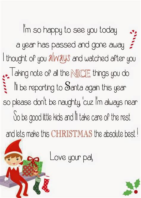 printable elf on the shelf return letter free elf on the shelf return poem elf on the shelf