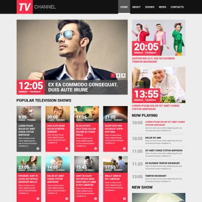 Tv Channel Website Templates Television Website Template
