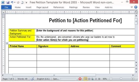 Free Petition Template For Word Community Petition Template