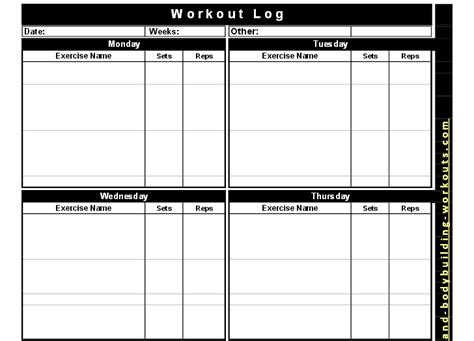 Bodybuilding Template printable workout template free most popular workout