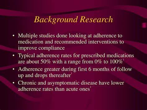 background research ppt patient non compliance with medications powerpoint