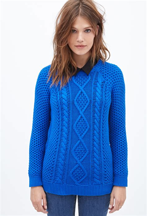 fisherman cable knit sweater lyst forever 21 cable knit fisherman sweater in blue